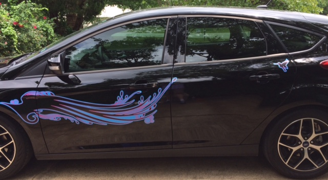 Black Prius red blue black hummingbird decal