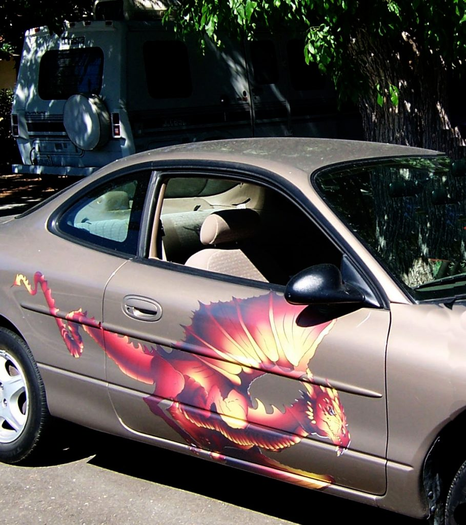 Gold Ford Focus-flying-dragon-decal-wing
