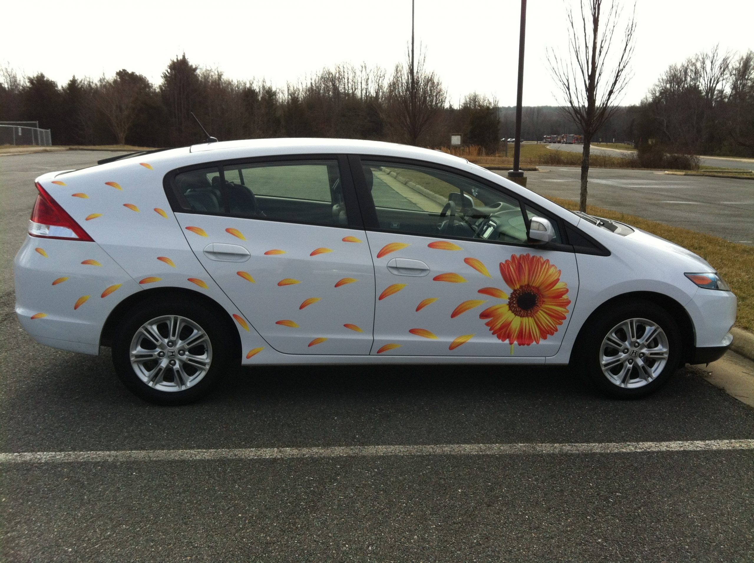 White Honda Hybrid in Parking lot with large flower and petal decal