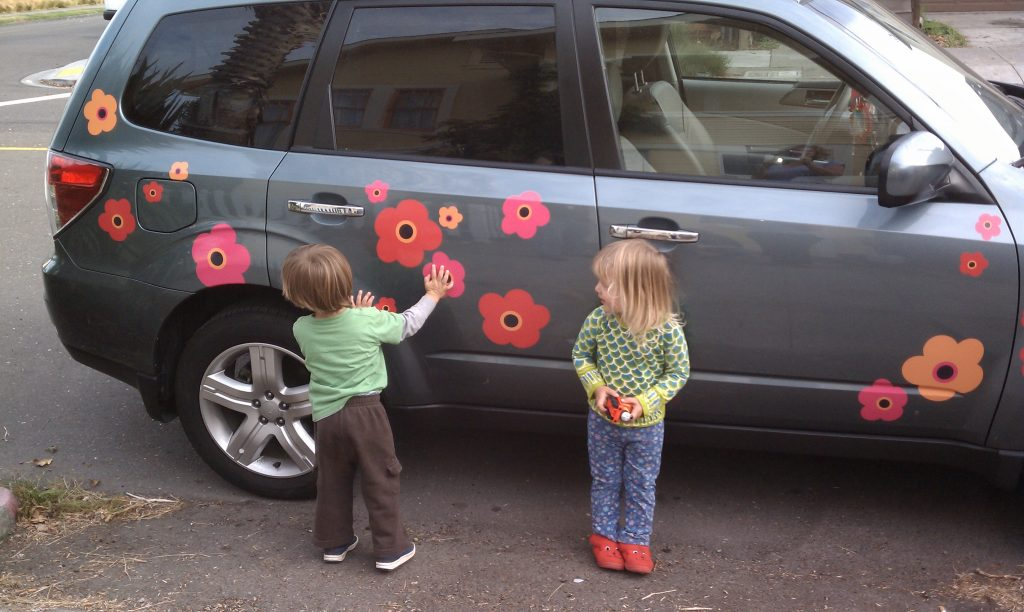 Design custom decals marimekko poppies on subaru forrester with girl and boy toddler