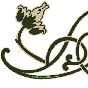 Close Up Art Nouveau green cream floral vine decal