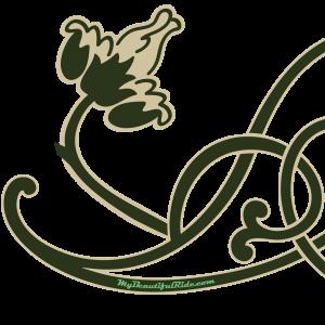 Close Up Art Nouveau green cream floral vine decal