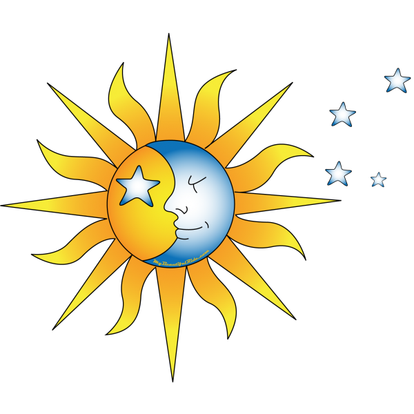 Close-Up-Celestial-Yellow Sun with Moon Face-Blueish Stars