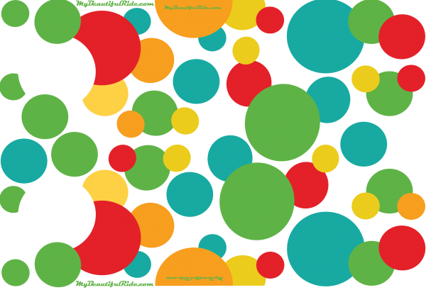 Driver-Passenger-Set Red Green turquoise orange yellow round decals-Bubbles-in-Rio