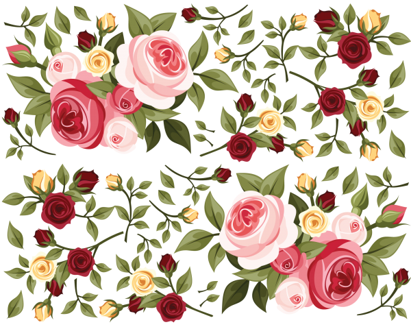 Driver Passenger Set Rose bouquet decals red pink yellow roses