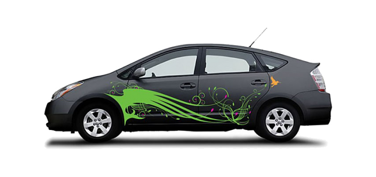 Fun decals for cars on a Black Toyota Prius Hummingbird Swoop