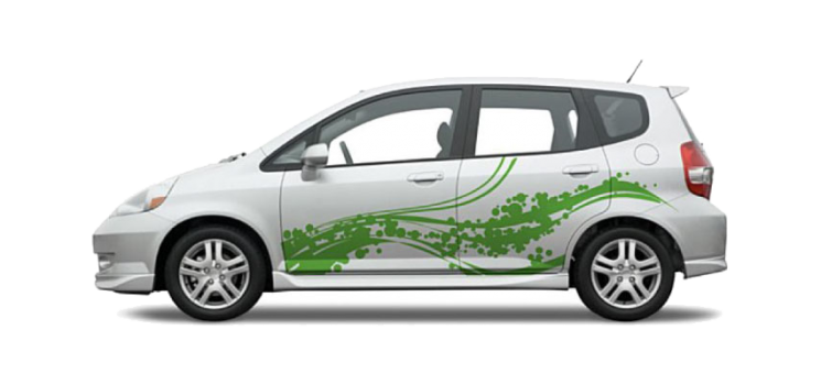 Cute Decals for cars on a White Honda Fit Green Bubbles