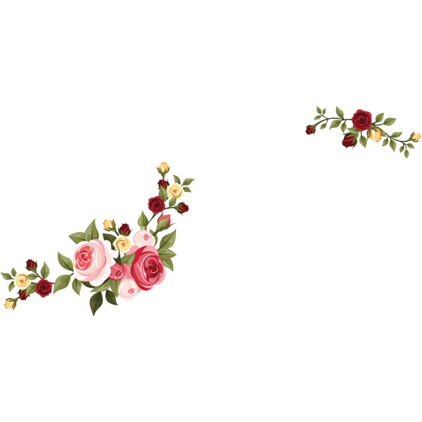 Rose Bouquet Decals of clusters of red pink and yello roses