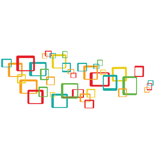 Squares in Rio Red Yellow Green Orange Turquoise