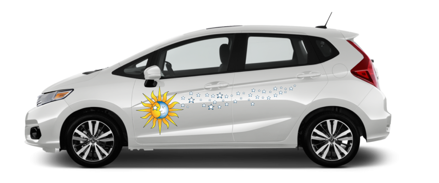 White-compact-Celestial-Sky-Cosmic tribal ying yang decal sun moon stars yellow blue face decal