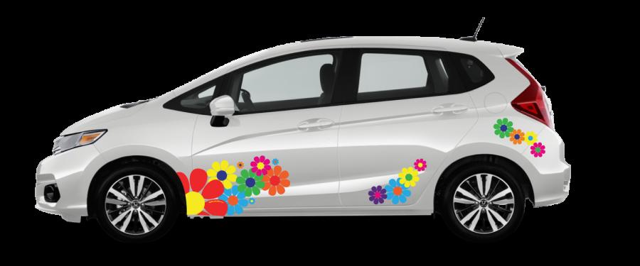 Car truck decals hippie hippy flower power daisy decals