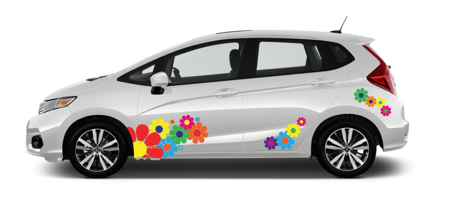 White-Honda-Fit-Flower-Power-Decal
