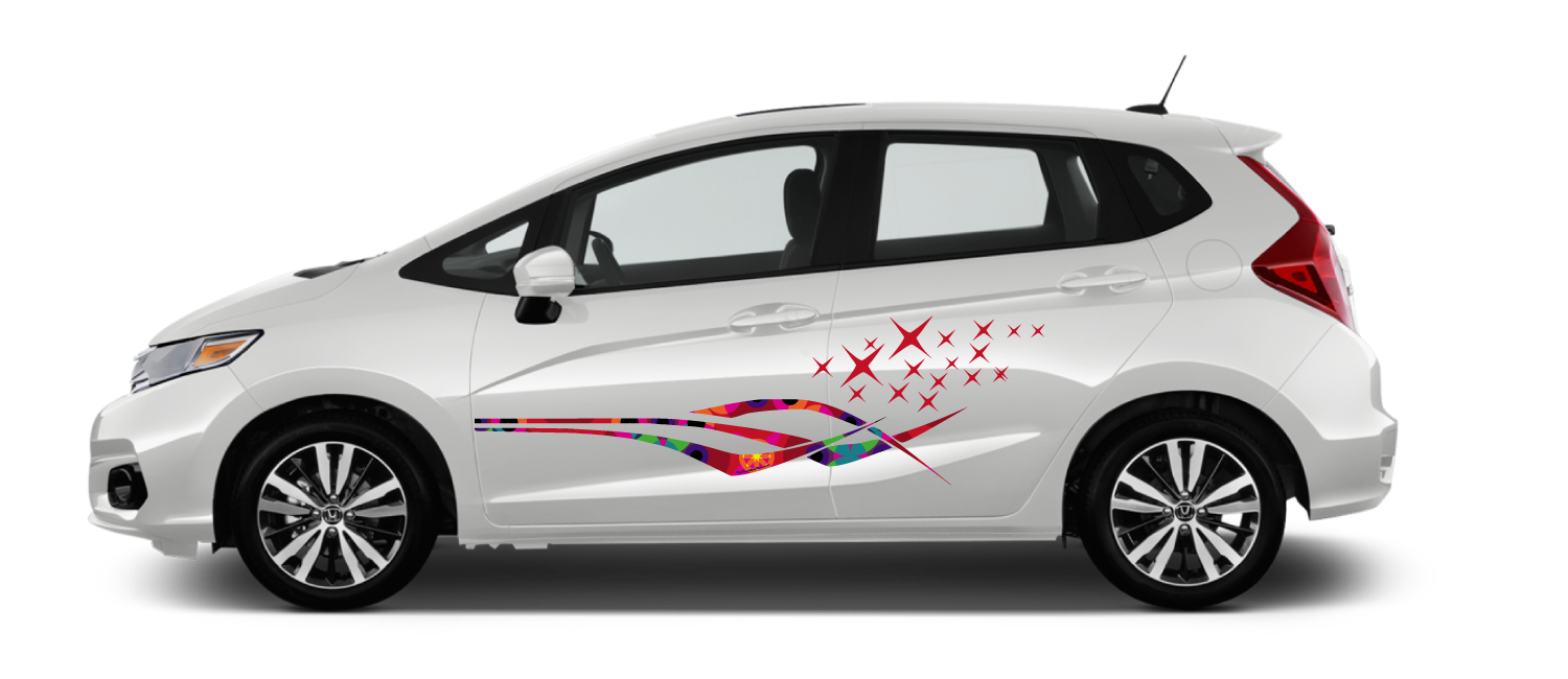 White-Honda-Fit-Galaxy-Tropical-Decal