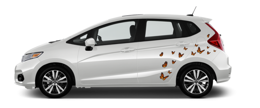 White Honda Fit self install decals Monarch butterfly decals near rear wheel well