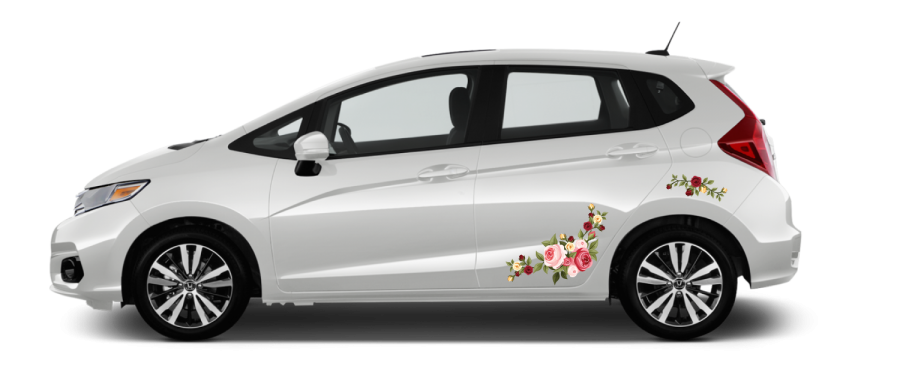 White Honda Fit self install decals Rose Bouquet red, pink, yellow roses