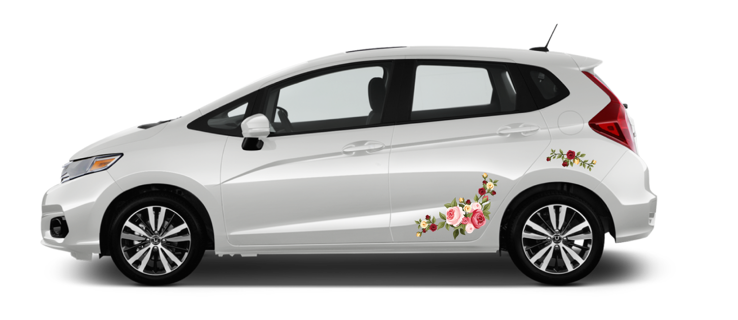 White Honda Fit Rose Bouquet decals red, pink, yellow roses