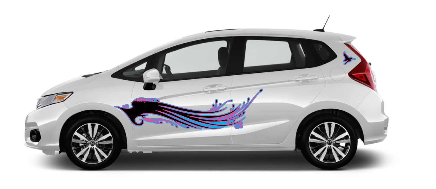 White-Honda-Fit-Wings-to-Fly-Black-Peppermint-Decal