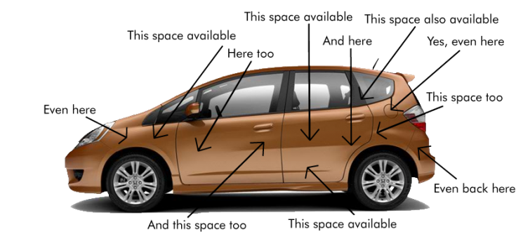 Where and how to put decals on a car or truck showngold-honda-fit-with-places-to install decals
