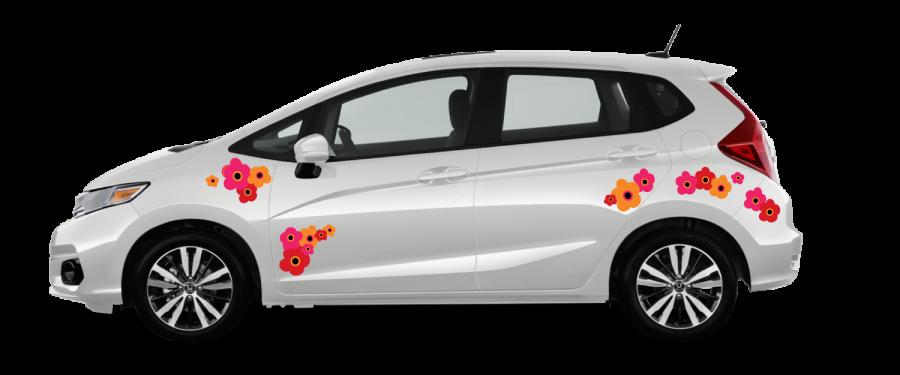 White-Honda-Fit-Red Orange and Pink Marimekko-Poppies self install decals