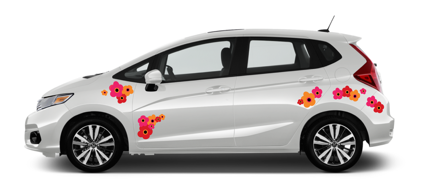 White-Honda-Fit-Red Orange and Pink Marimekko-Poppies