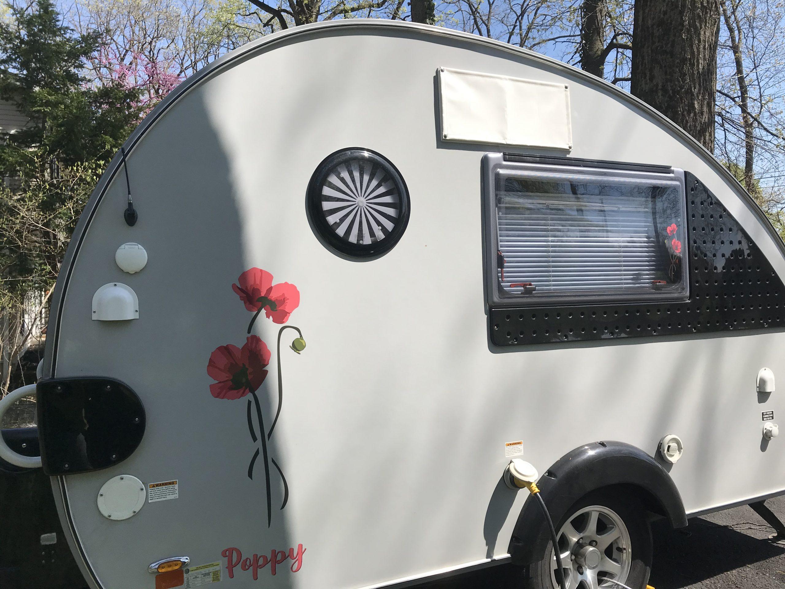 Girl Camper Teardrop Tab Trailer Red Poppy decals on side
